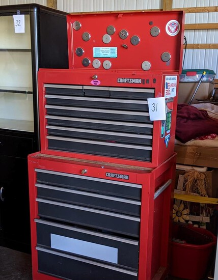 Craftsman 2-part Toolbox W/lift Top, 12 Drawers, & Miscellaneous Small Items Inside
