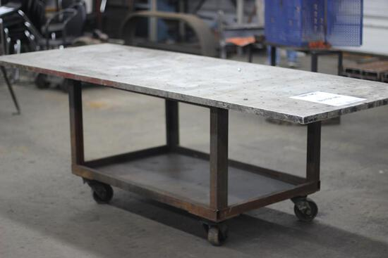 8' X 3' ALUMINUM TOP ROLLAROUND WORK TABLE WITH CAST IRON BASE