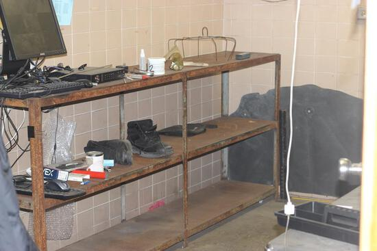 CONTENTS OF WELDING OFFICE; HOMEMADE STAINLESS STEEL TOOL BOX; HEAVY SHELVING 8' LONG; HOMEMADE MET