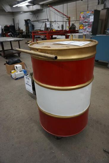 HOMEMADE 55-GAL. DRUM TRASHCAN WITH WRENCH HANDLE