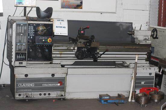 CLAUSING COLCHESTER RETROFITTED CNC LATHE WITH 5' TABLE & 2 EXTRA CHUCKS, RETRO FIT CONTROLS