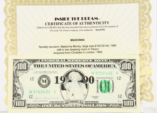 """Madonna """"$100"""" Souvenir From Dressing Room W/COA"""