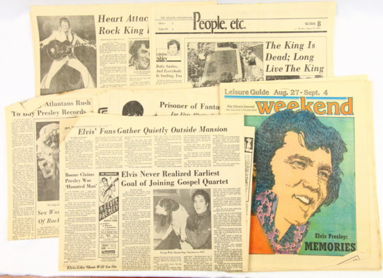 (8) Atlanta Newspaper Articles on Elvis' Death