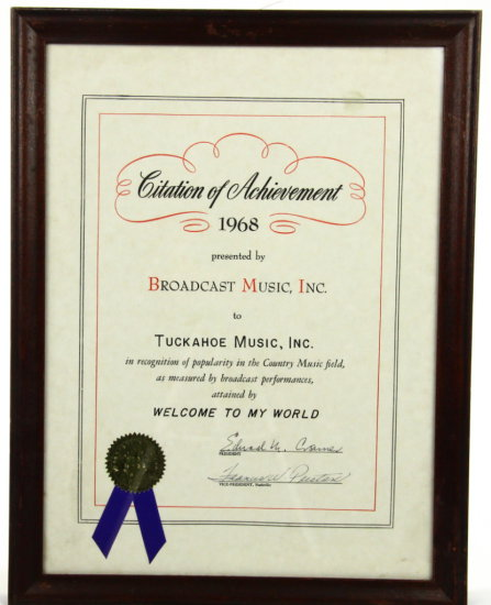 "1968 BMI Award For ""Welcome to my World"" W/COA"