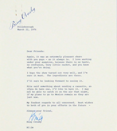 Bing Crosby Signed Letter To Emmy Winning Producer