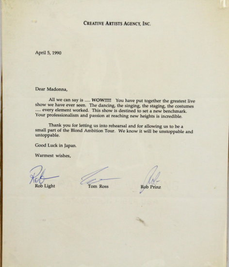 Personal Letter to Madonna Dated Apr 5 1990 W/COA