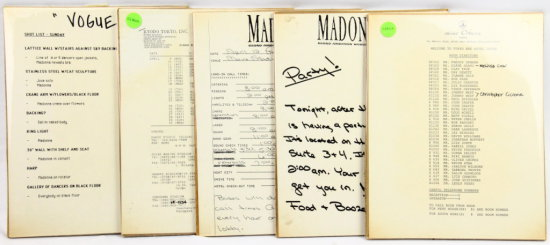 Madonna Backstage Notes From Dressing Room W/COA