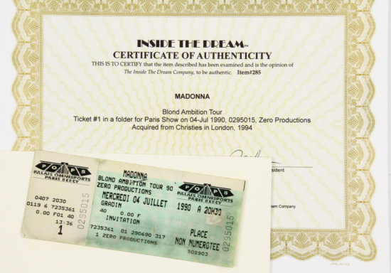 Madonna Blond Ambition World Tour Ticket W/COA