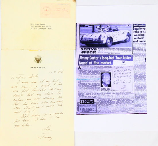 "Jimmy Carter Handwritten ""Long Lost Love Letter"""