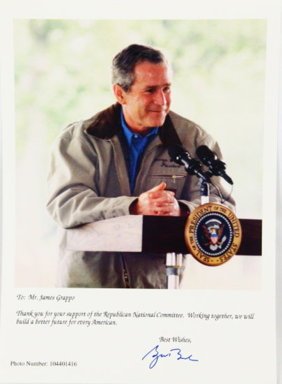 George W. Bush Autographed Photo W/Thank You Note