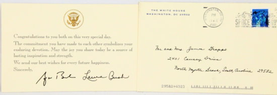 George W. Bush & Laura Bush Hand Signed Note