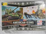 The Lindberg Line American Icons model kits M-46 Patton 1:35 scale USS Missouri 1:900 scale
