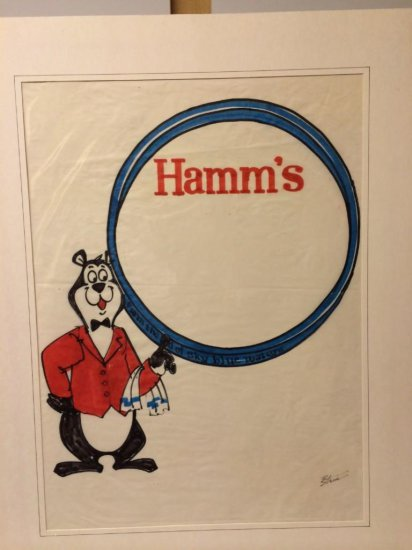 Signed Original Pencil and Pastel Marker Hamm's Art by Bill Stein 1960's