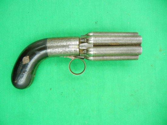 Belgium Proofed Underhammer Peppebox Mariette Pistol Year: 1840-1860 Serial: NSN Damascus Barrels .