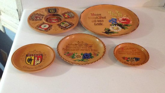 Five European wood plates.