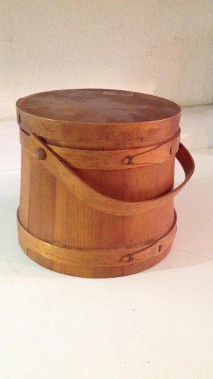 Wood firkin style bucket with lid.