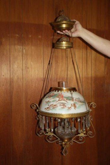 Fox Hunt Hanging Oil Lamp