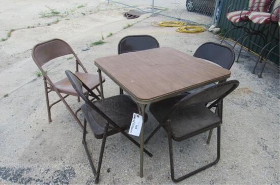 Card Table w/ 5 Metal Folding Chairs