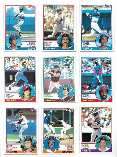 Lot of (30) 1983 Topps Baseball Cards