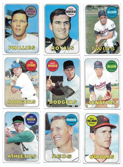 Lot of (9) Vintage 1969 Topps Baseball Cards, All One Money