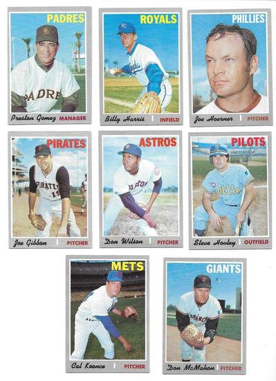 Lot of (8) Vintage 1970 Topps Baseball Cards, All One Money