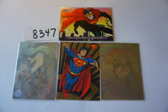 Four (4) DC Comic Card Inserts from 1993: Hologram Hall of Fame DCH12 Hawkman and DCH16 Swamp Thing,
