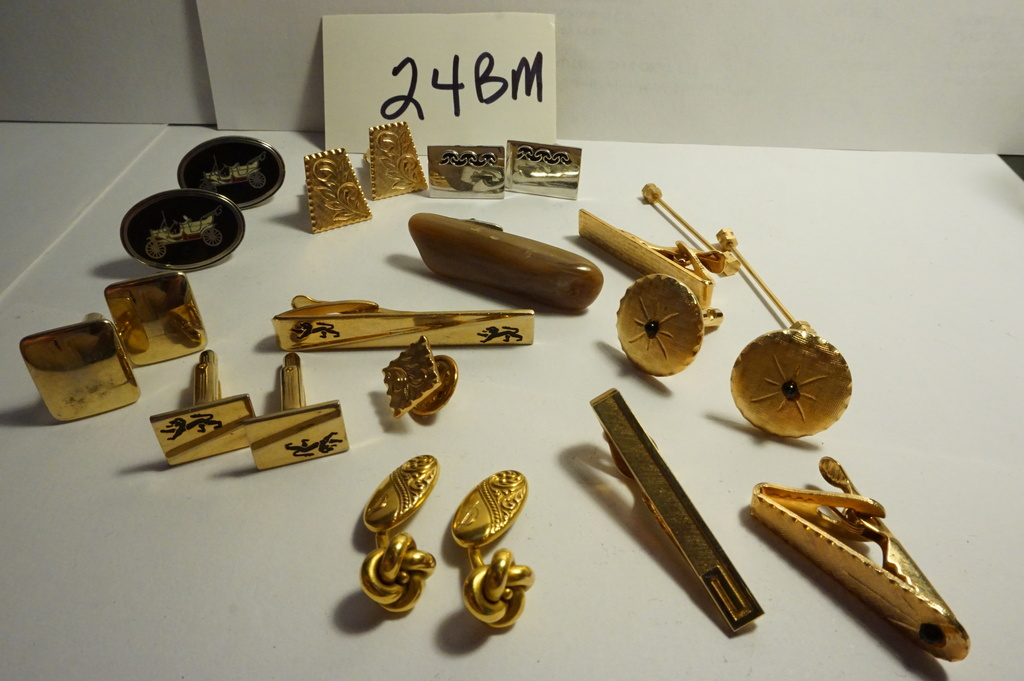 Estate Find: Seven (7) pair of cuff links and some neck  tie clips, metal content unknown.