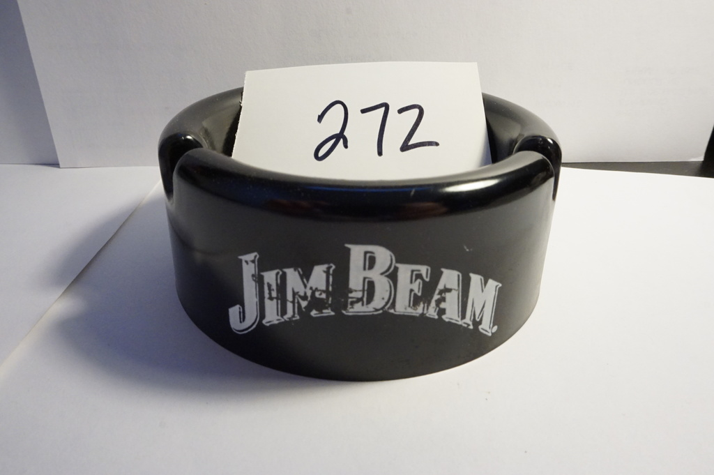 "1.5""x3.625"" Black Jim Beam plastic Ashtray, Estate Find. light scratches"