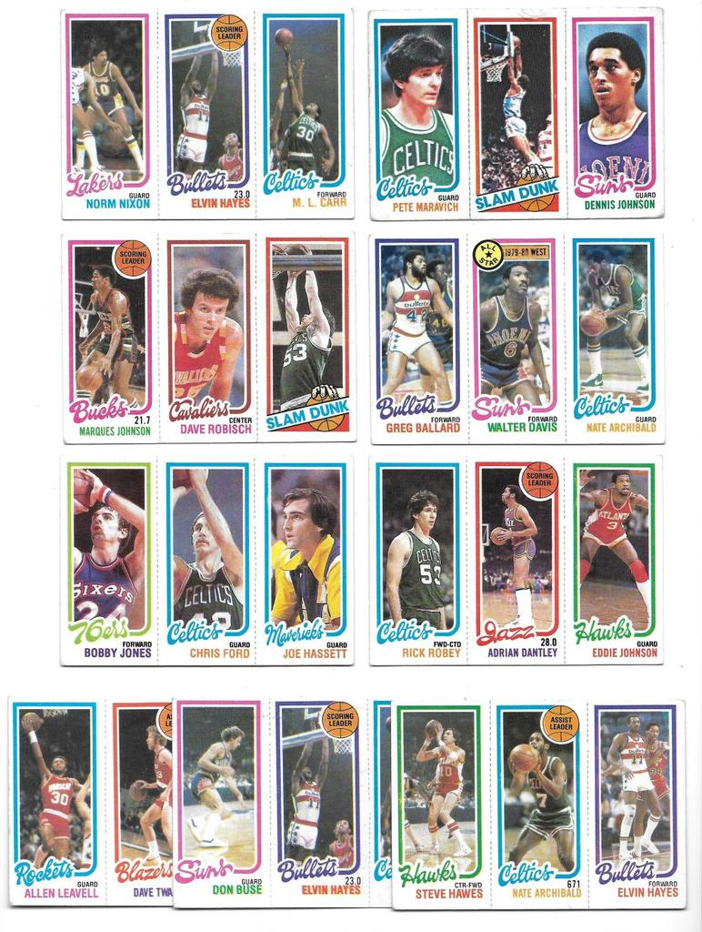 Lot of (9) different Vintage 1980-81 Topps Three-Player Basketball Cards, incl. Maravich, Hayes, DJ