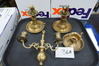 Louisiana Estate Find: Collection of Four (4) Brass Candle Holders, All One Money, Age Unknown