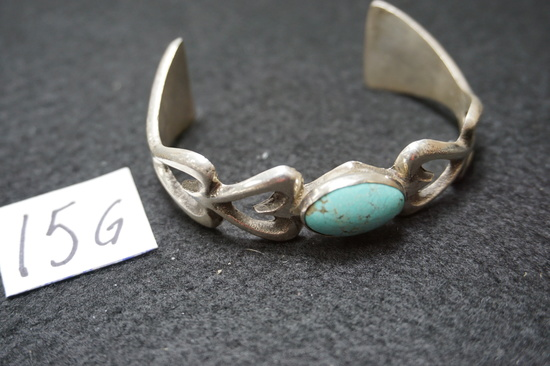 "marked ""DK"" handmade Sterling Silver and Turquoise Bracelet"