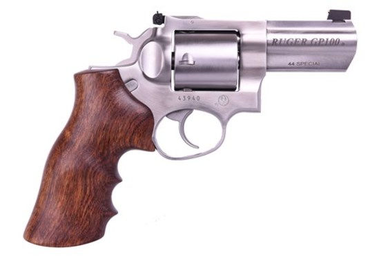 Ruger GP100 .44 SPECIAL Revolver, Stainless Steel, Wood Grip
