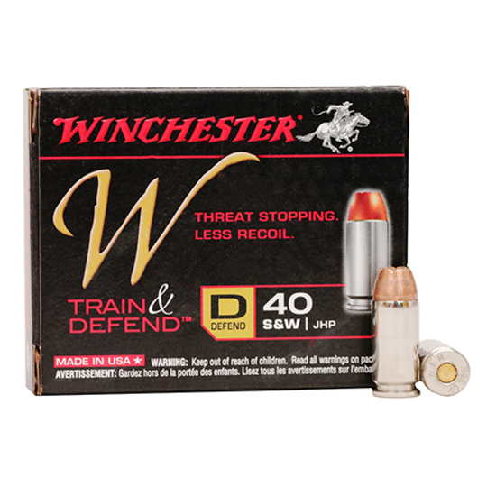 TWO HUNDRED (200) ROUNDS: Hollow Point, Winchester 40S&W Ammunition Train & Defend W40SWD 180gr jhp