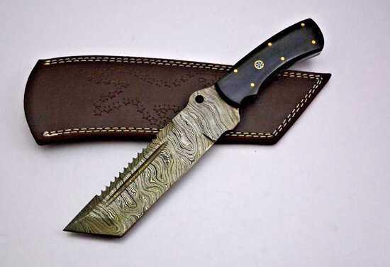 """HRADIL STEEL"" Handmade Damascus Blade Knife with SAWBACK, 11.5"" Hradil Steel"