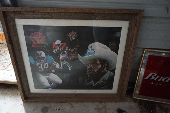 Signed Earl Campbell Framed Piece