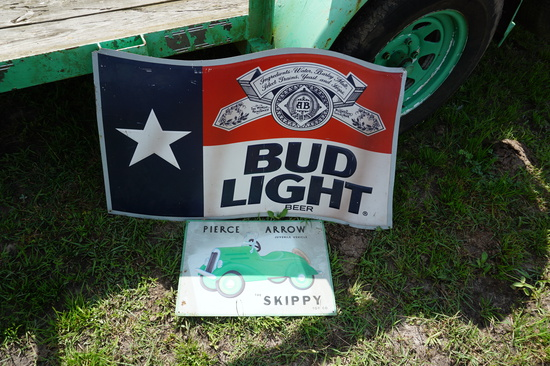 Bud Light and Skippy (pedal car) Signs, Both One Money
