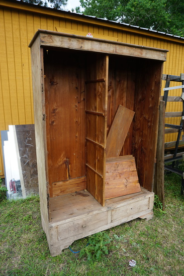 19th Century Texas Handmade Wardrobe, Cedar, chamfered, Mortis & Tenered, Square Nails. Texas Made