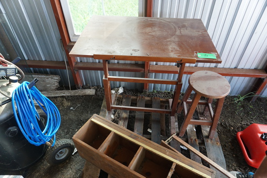 Contents of Pallet, Draft Table and Stool, Shelf, Super Pine Compartment Box