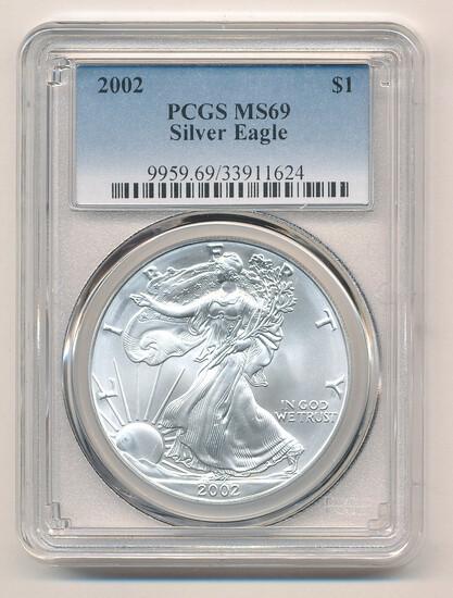 TWENTY (20) 2002 Silver Eagles PCGS Graded MS69, One Ounce Fine Silver Each, All One Money