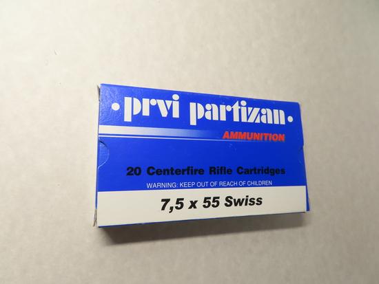 Twenty (20) Rounds: PRVI Partizan, 7.5 x 55 Swiss FMJ Boat Tail, Brass, New In Box. 174 Grain
