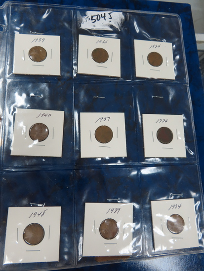 Nine (9) Wheat Cents, All One Money. Date Range 1926-1948