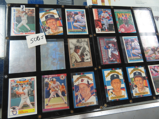 Eighteen (18) Cards in screw down holder incl. Jim Palmer, Darryl Kile, Cal Ripken, Tommy John,