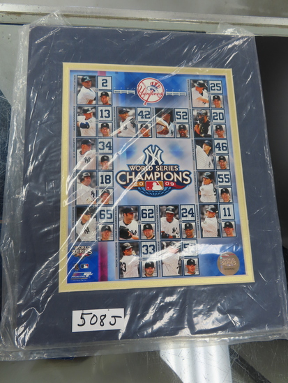 "2009 World Series Champions 8""x10"" Matted Display, Yankees, with hologram."
