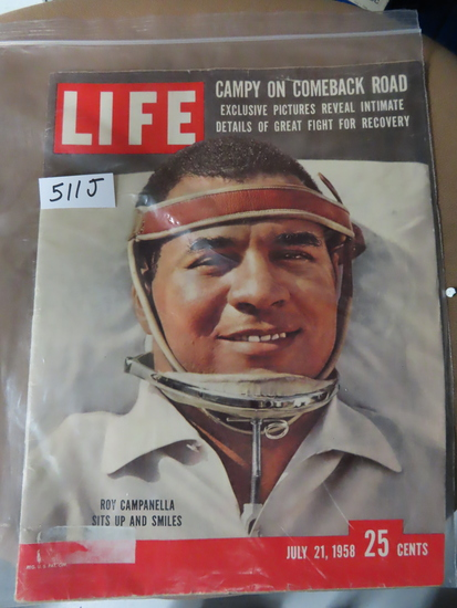 July 21st 1958 Life magazine with Roy Campanella on cover.