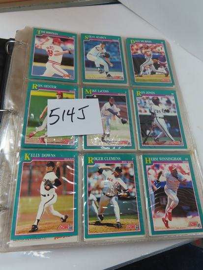1991 Score Baseball Three Ring Binder cards 648-892, loaded with stars incl Clemens, Sandberg,