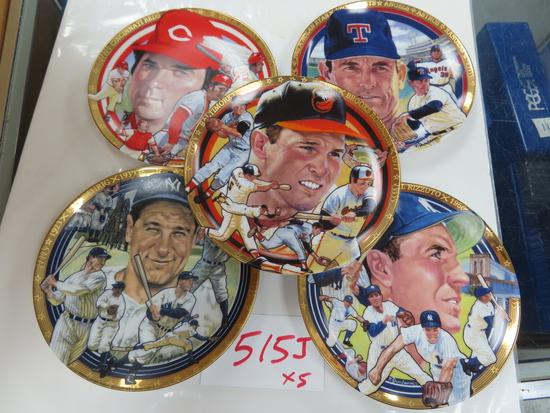 "Five (5) X the Money: 6.375"" 1992 porcelain plates (U.S.A.) inlc Lou Gehrig, Nolan Ryan, Johnny"