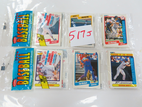 TWO (2) X The money: 1990 Fleer Baseball Rack Packs, 45 cards in each pack. Showing: Mattingly,