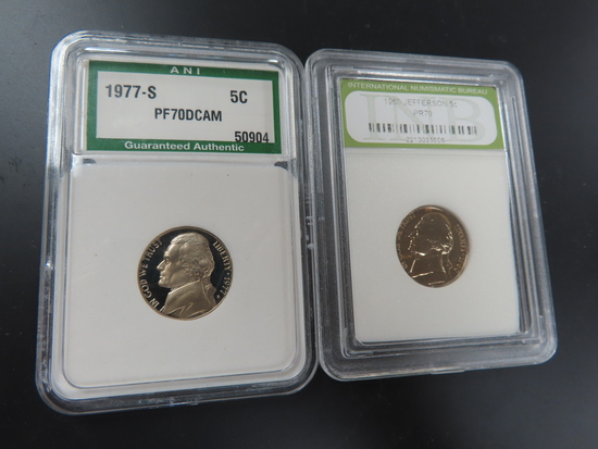 TWO (2) X the Money: Proof 70 Nickels, 1977-S ANI Graded PF70DCAM and 1960 INB Graded PR70.