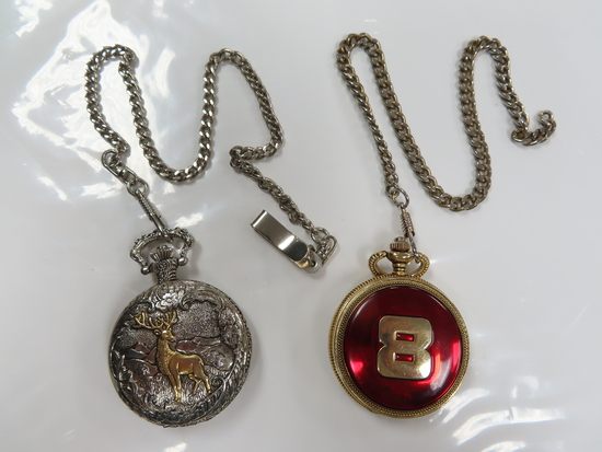 Two (2) X the Money: Used Pocket Watches, Untested, Estate Find. Deer and #8