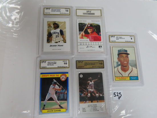 Five (5) X the Money: MGS GRADED Card Collection incl. Jason Giambi, Pujols, Mantilla, Ewing and